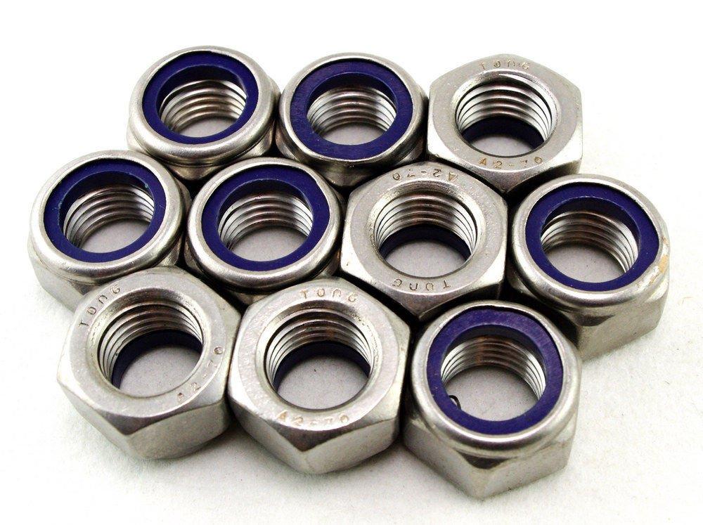 �10� Metric M16 304 Stainless Steel Hex Head Nylon Insert Lock Jam Stop Nuts