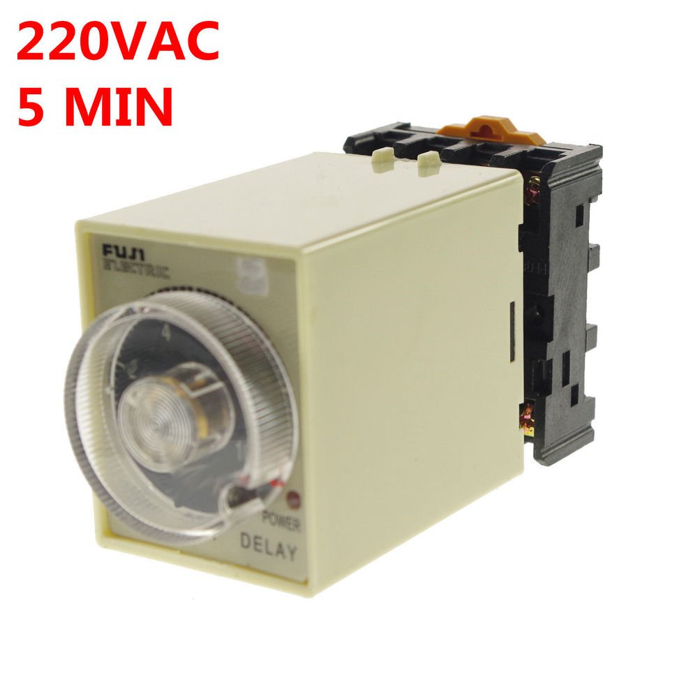1PCS 1A 220VAC Power off delay timer time relay 0-5min with PF083A Socket Base