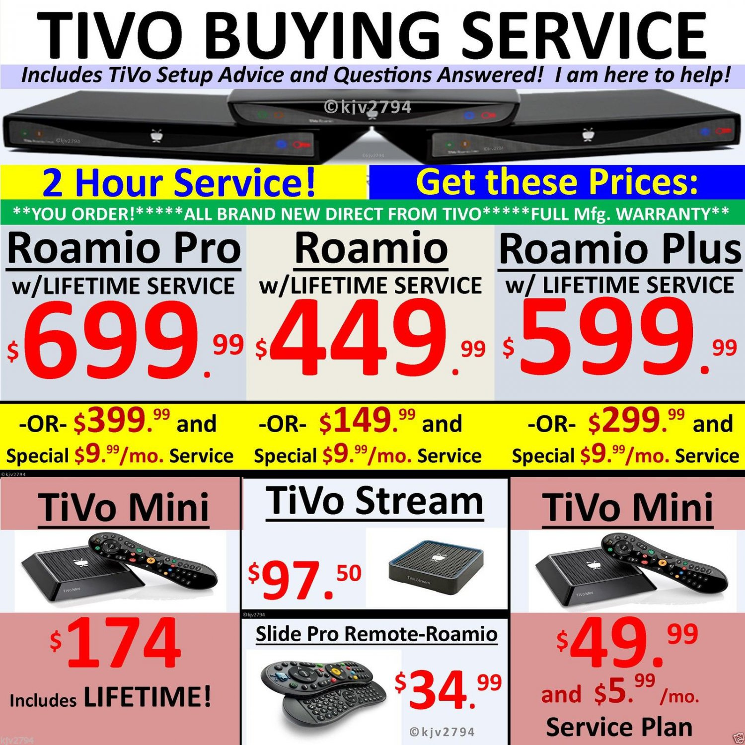 Tivo PROMO DISCOUNT Buyer's Service! Roamio Plus Pro Mini Lifetime Stream