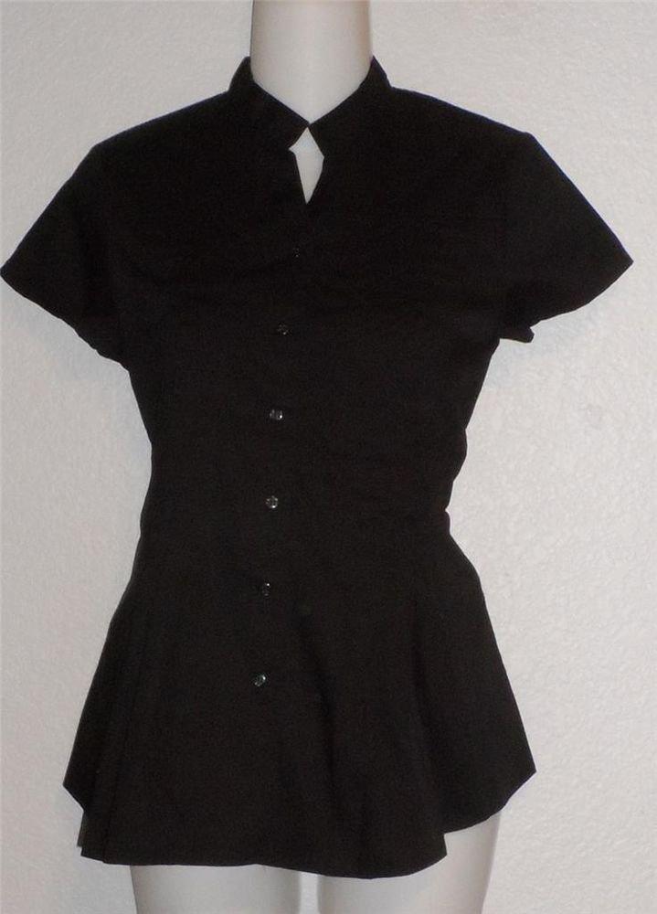 NEW Allison Morgan Small 4 6 Medium 8 10 Black Cotton Blouse Button Front Pintuc