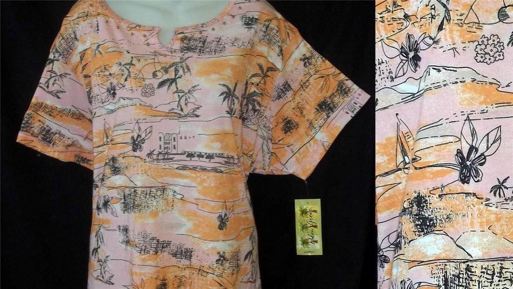 Palm Grove Woman 1X 18W 20W 3X 22WS 24W Pink Orange Beaded Sail Boat Tee Shirt