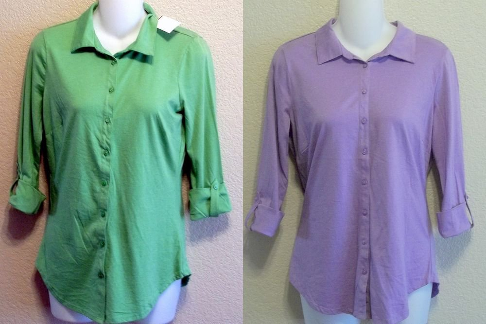 New LIZWEAR Medium 8 10 Small 4 6 100% Pima Cotton Purple or Green Shirt