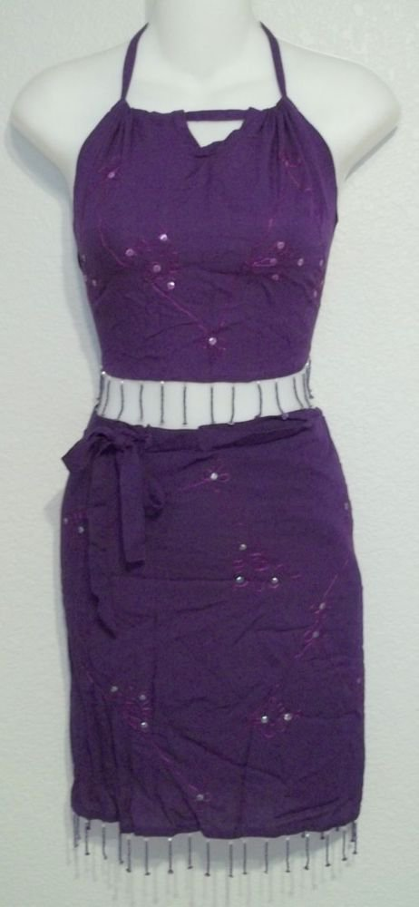 NEW One Size Touch of Bali Rayon 2 Pc Embellished Top Sarong Purple or Green