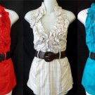 NEW Heart Soul 1X 14W 16W 2X 18W 20W 3X 22 24W Tan Red Aqua Ruffle Halter Blouse