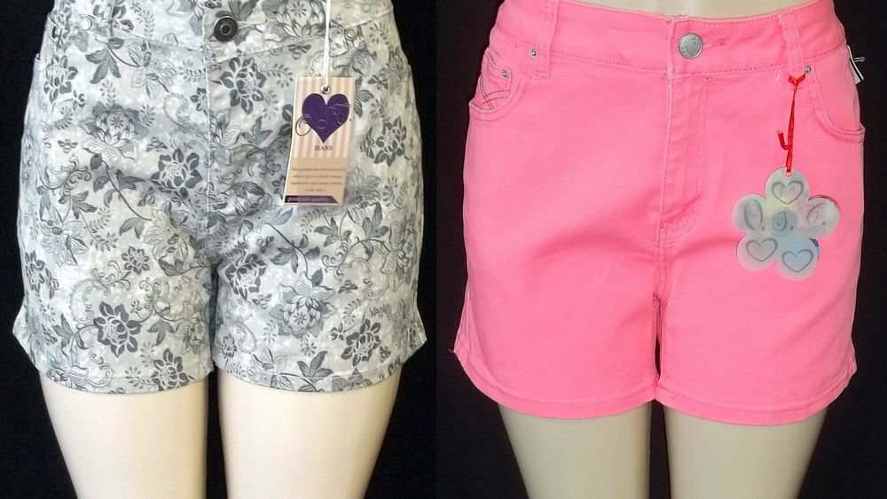 New O.S.C. 14 16 18 20 22 24 Denim Classic 5-Pocket Short Shorts Green or Pink