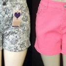 New O.S.C. 14 16 18 20 22 24 Denim Classic 5-Pocket Short Shorts Green or Pink
