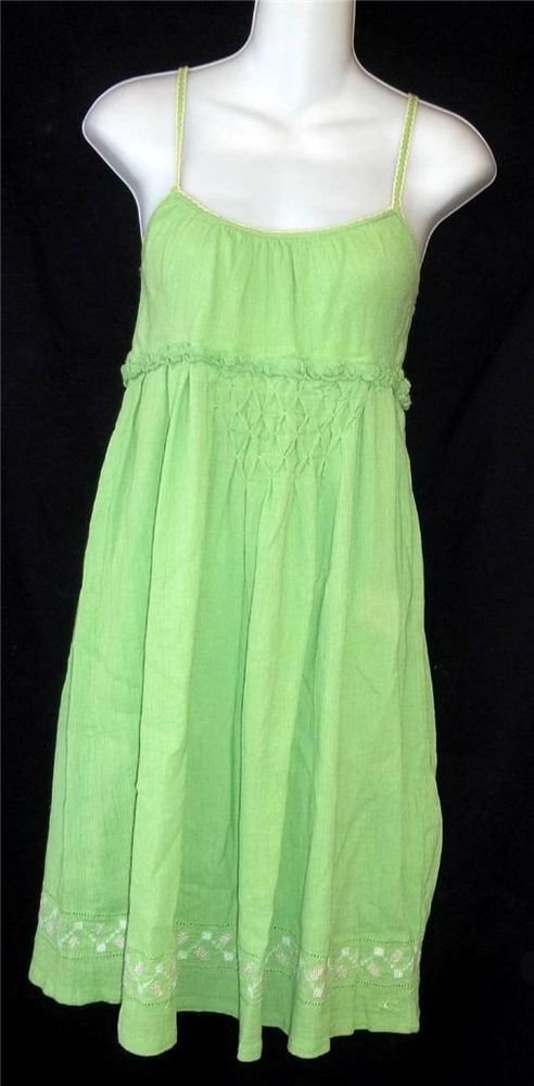 O'Neill Small 4 6 Bright Apple Green Krinkle Knee Length Casual Summer Sun Dress