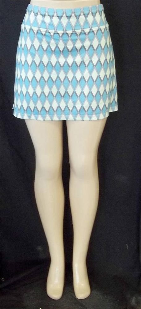NEW All by Jofit Tennis Golf Pale Blue Yellow Skort Diamond XL Extra Large 16 18
