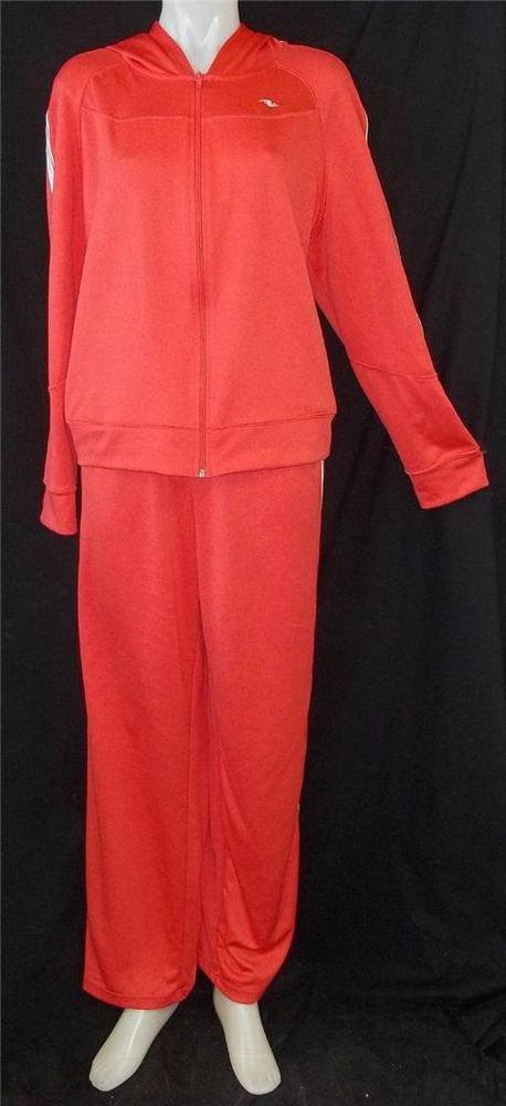 Athletic Works Pants XL 16 18 Top XXL 20W Orange Stretchy LS 2 Piece Track Suit