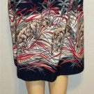 Copley Square Medium 8 10 Vintage '80s Navy Blue Animal Wild Cat Full Skirt