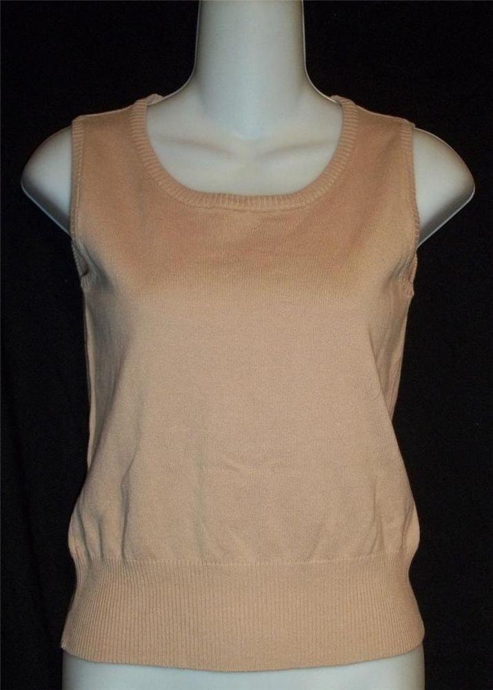 NEW Linda Matthews Small 4 6 Tan Beige Pullover Tank Sweater Vest Cotton Nylon