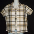 Cabin Creek PM 8P 10P Petite Medium 2 Pc Beige Plaid SS Blouse Textured Tank Top