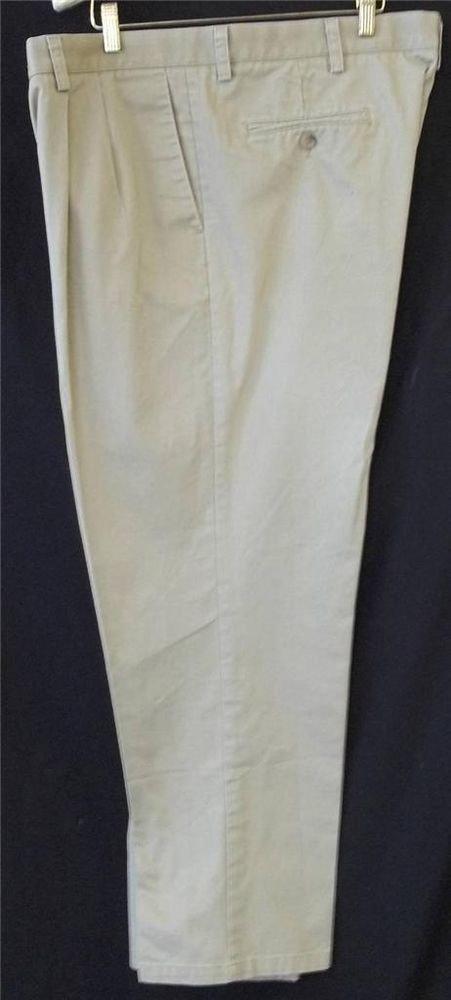 Dockers 40W 30L Individual Fit Waistband Khaki Pleated Men's Pants 4 Pocket
