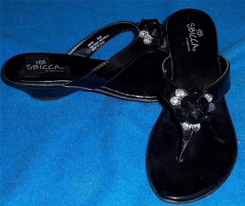 Sbicca 6.5M 6-1/2M Black Patent Low Heel Black Clear Jewels Thong Sandals Shoes