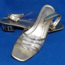 "Annie 8-1/2 Medium B Clear Silver Gold Sandals 1-1/2"" Heels Sling Back Dressy"