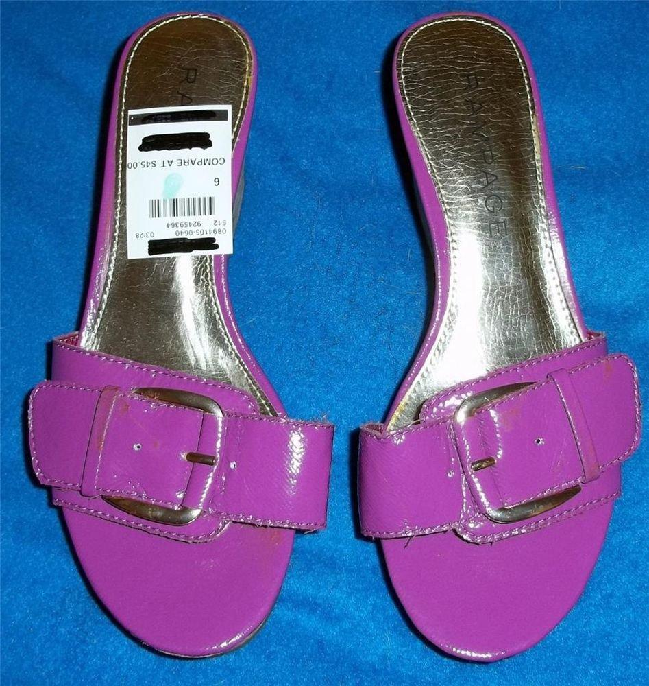 "NWOB Rampage Hot Pink Patent Buckle 3"" Wedge Cork Mules 8 M B Medium"