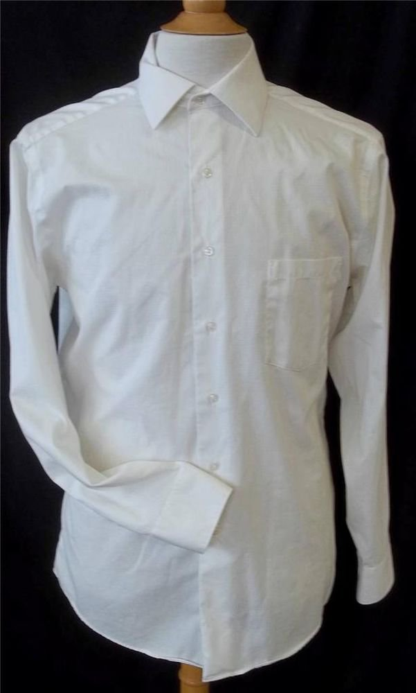 Geoffrey Beene Men's 16 34/35 White Long Sleeve Button Front Dress Shirt
