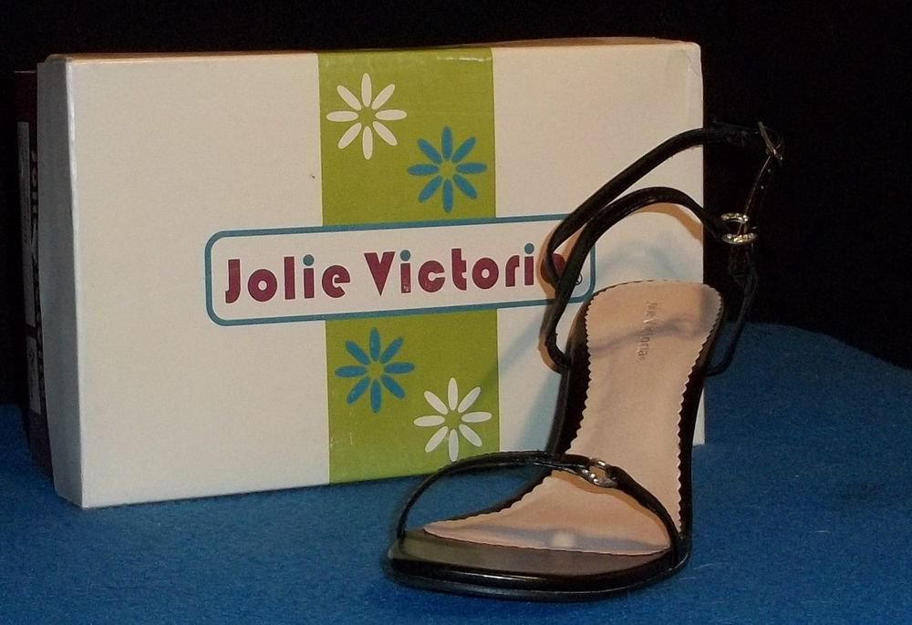 "NEW Jolie Victoria Shoes 6 B 7 B Medium Drip V Black Slingback Strappy 3"" Heel"