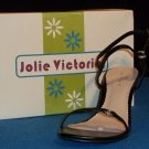 "NEW Jolie Victoria Shoes 6 B 7 B Medium Drip V Black Slingback Strappy 3"" Heel"