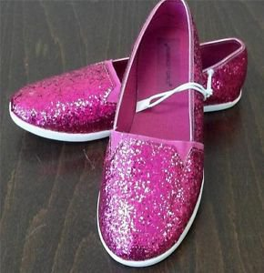 NEW Rampage Girls Size 3 Hot Pink Fuschia Glitter Pull On Shoes Rubber Bottoms