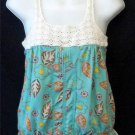 Decree Junior Small 3 5 Aqua Floral Design Tank Top Crochet Neckline Peplum