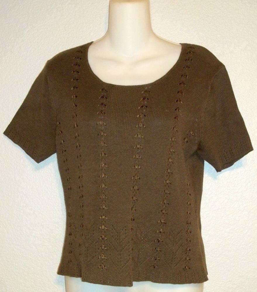 Sophisticates Jonathan Martin Small 4 6 Espresso Brown Crochet Embellish Sweater