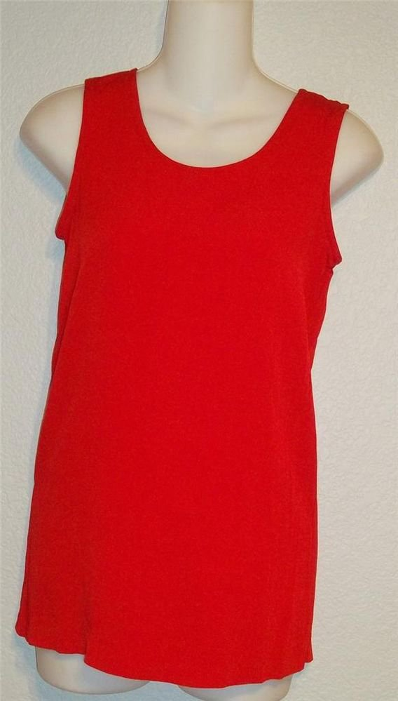 Carole Little Petites  2P  PXS Fire Engine Red Sleeveless Blouse Tank Top Shell