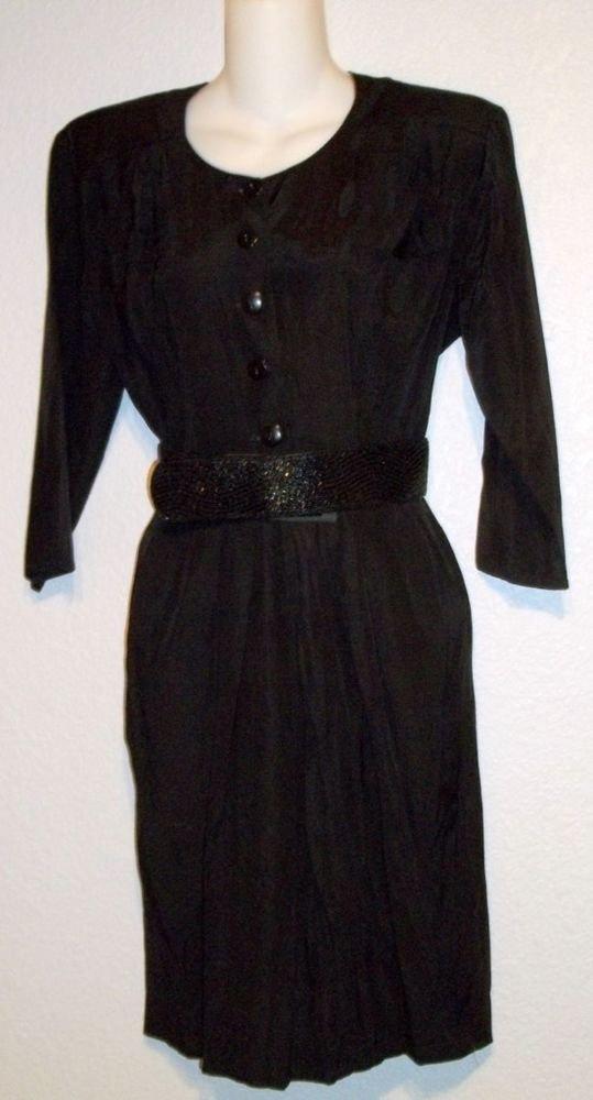 Rampage Junior 7 8 Medium Basic Black Vintage Rayon Blend 3/4 Sleeve Shirt Dress
