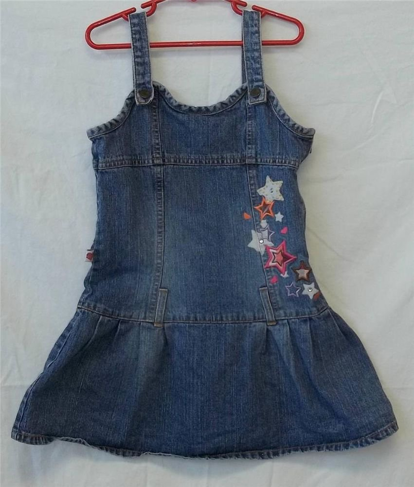 Bratz Kidz Girls 8 Denim Colorful Star Embellished Sun Dress Jumper