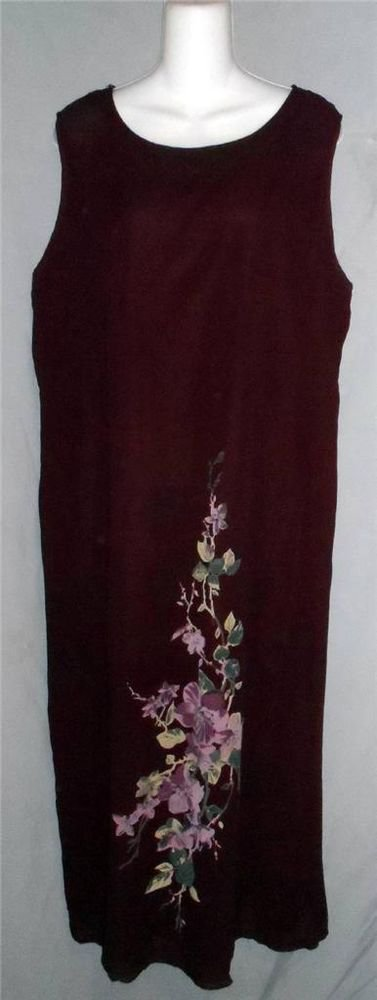 Willow Ridge 1X 14W 16W Egg Plant Purple Career Sleeveless Floral Long Dress
