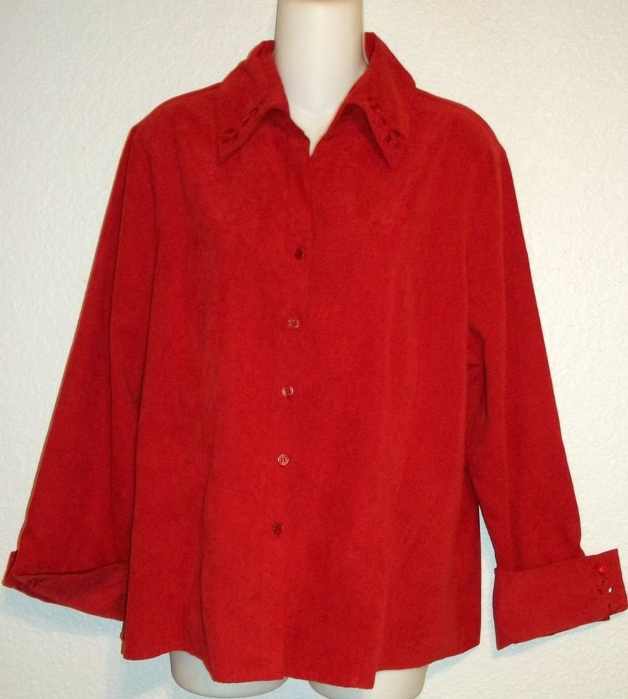 Worthington XL Extra Large 16 18 Brick Red Suede Feel Career Blouse Shirt Top