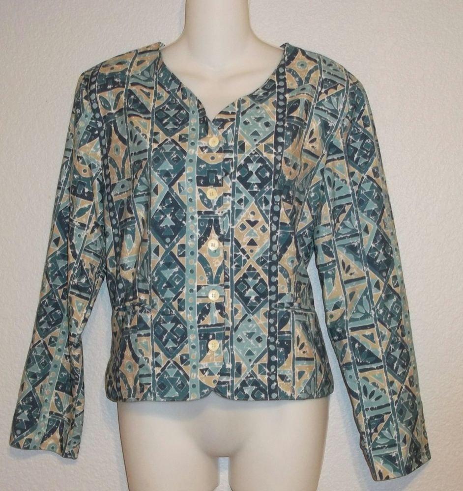 LL Bean 8 Medium Teal Tan Geometric Print Long Sleeve Jacket Blazer Top
