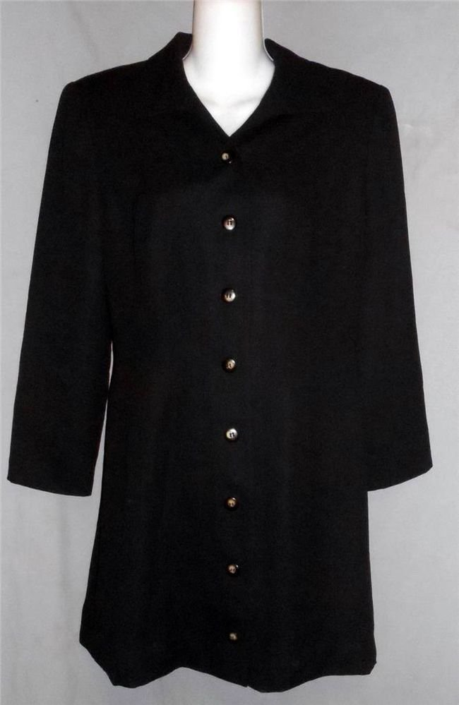 Maggy London 8 Medium Fully-Lined Black LS Classic Button Front Coat Dress