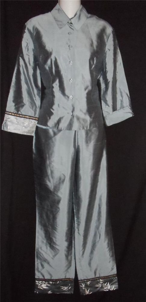 ICE Blue 8 Medium 2 Pc Embellished Pants Top Lounge Hostess Lined Silk Outfit