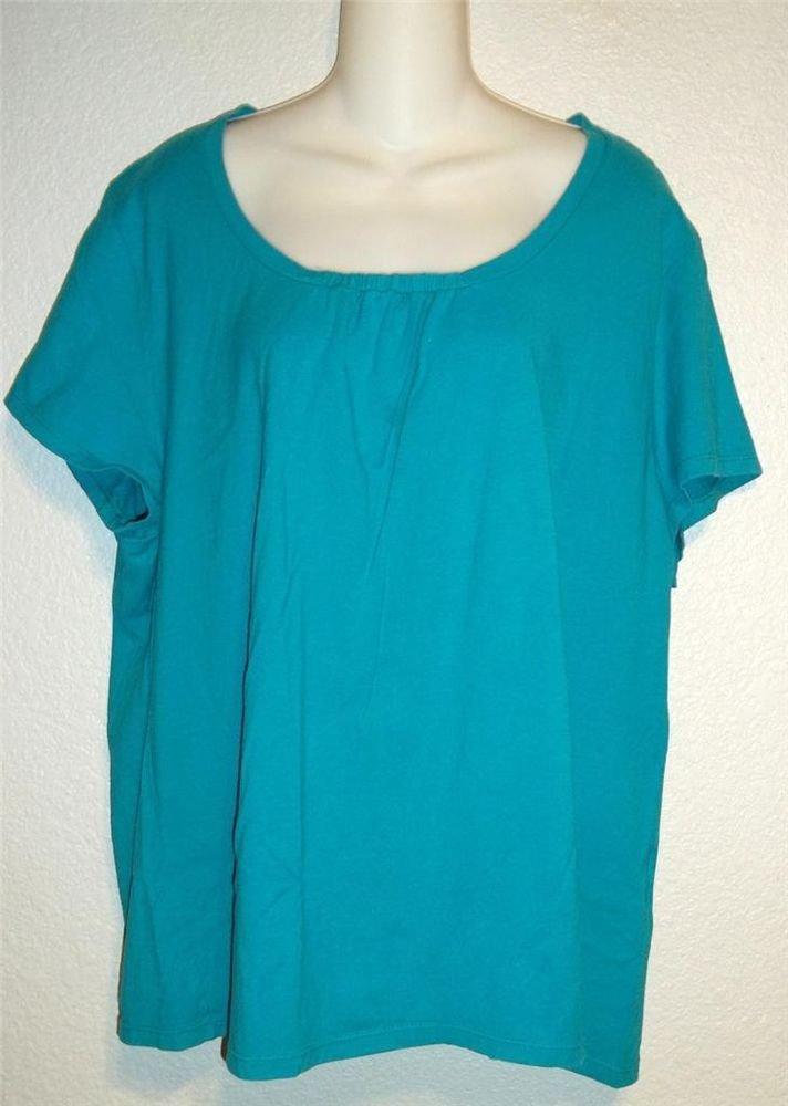JMS Just My Size 2X 18W 20W Bright Aqua Gathered 100% Cotton T-shirt Tunic Top