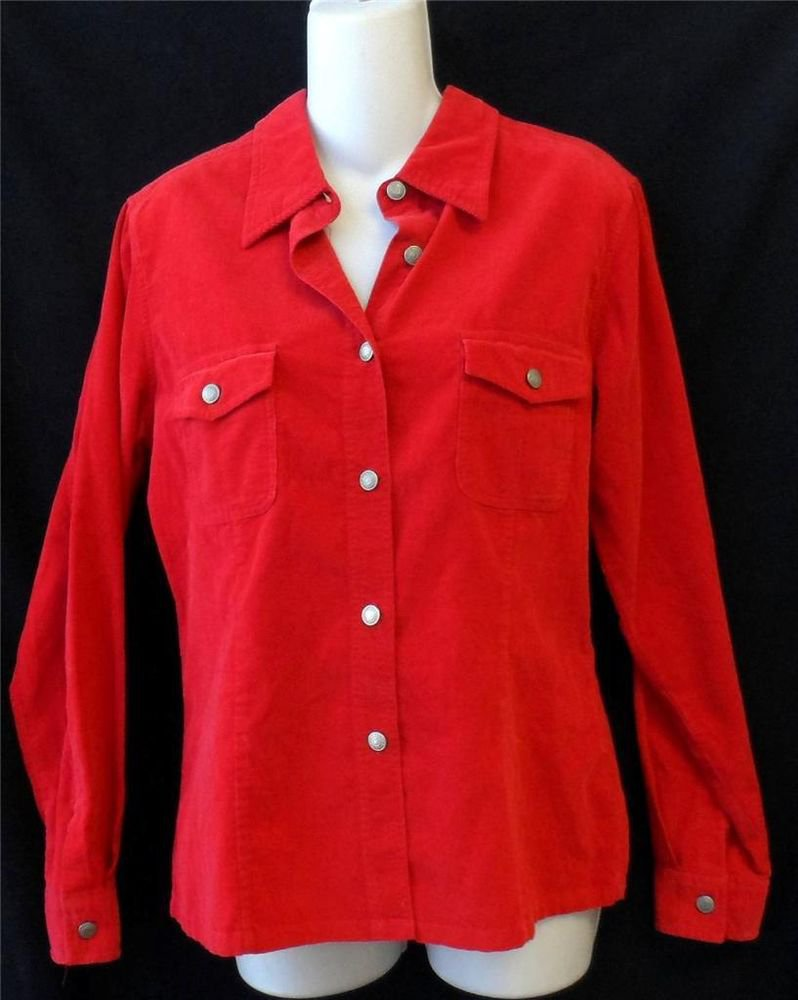 Gap Misses M 8 10 Pin Wale Corduroy Tomato Red Long Sleeve Button Down Shirt