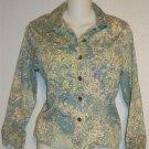 Susan Bristol Small 4 6 Blue Ivory Floral Embellished Short Jean Style Jacket