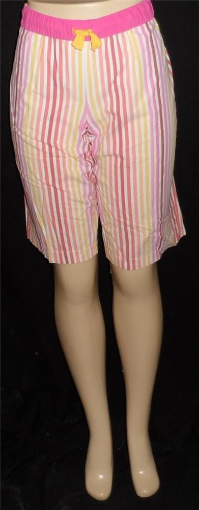 Xhilaration Large 12 14 Pastel Pinks Striped Sleepwear Long Shorts Elastic Waist