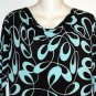 Susan Lawrence  Large 12 14 Black Turquoise Asymmetrical Cowell Neck Blouse Top