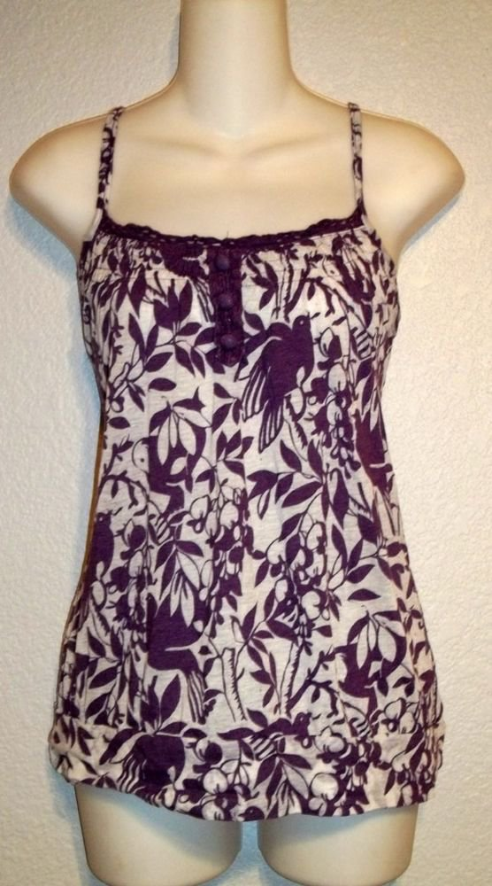 Full Tilt Large 12 14 Purple Wine White Floral Print Spaghetti Strap Blouse Top