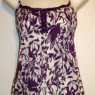 Full Tilt Large 12 14 Purple Wine White Floral Print Spaghetti Strap Blouse Top