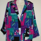 Willow Ridge  PM 8P 10P Purples Pink Teal Geometric Single Button Silky Blazer