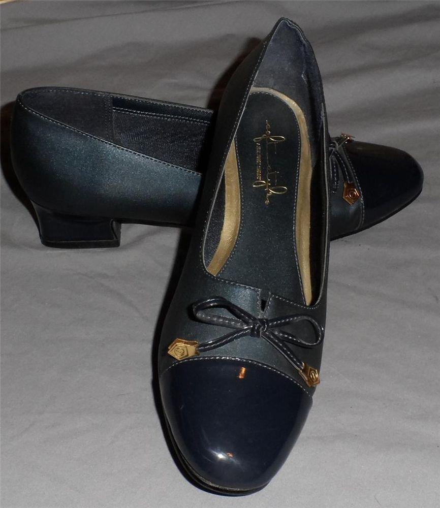"Soft Style Hush Puppies 6 M Medium Charcoal Patent Fabric 1-1/2"" Dress Heels"