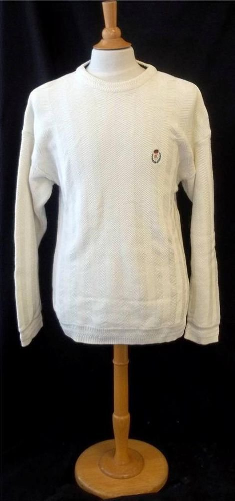 Chaps Ralph Lauren XL Extra Large 100% Cotton Men's White LS Casual Golf Sweater