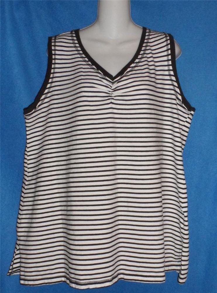 JMS Just My Size 2X 18W 20W White Black Stripe Cotton Blend T-shirt Tank Top