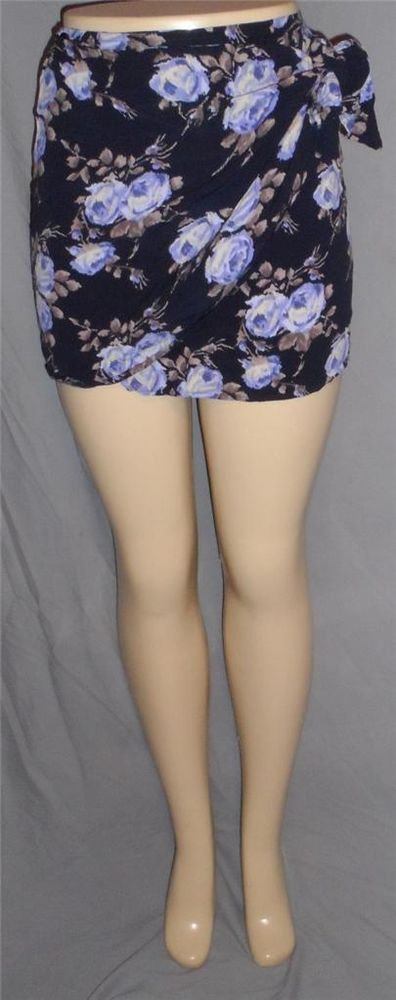 The Limited 2 XS X Small Tie Wrap Micro Mini Skirt Cover Up Black Purple Flowers