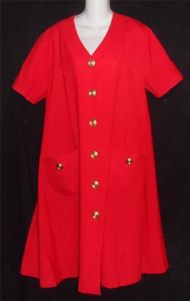Brownstone Woman NY 14W 1X True Red Button Down Coat Dress Large Gold Buttons