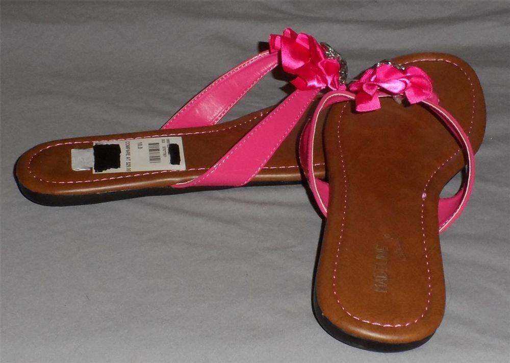 NEW Madeline Stuart 10 Medium B Euro 41 UK 8 Hot Pink Rhinestone Thong Sandals