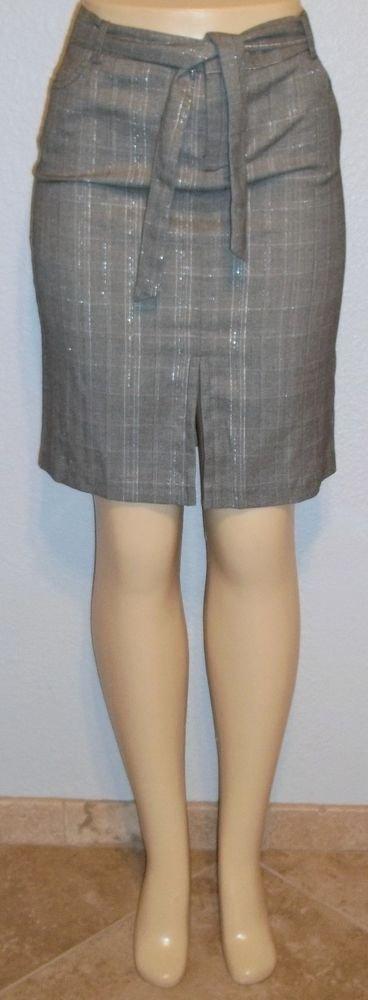 NEW Hot Kiss Juniors 9 Medium Gray Silver Metallic Black Plaid Pencil Skirt