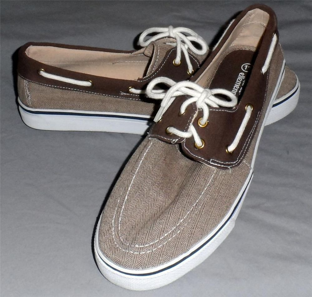 NEW ellemenno 11M Light Dark Brown Canvas Fabric White Tie Women's Boat Shoes